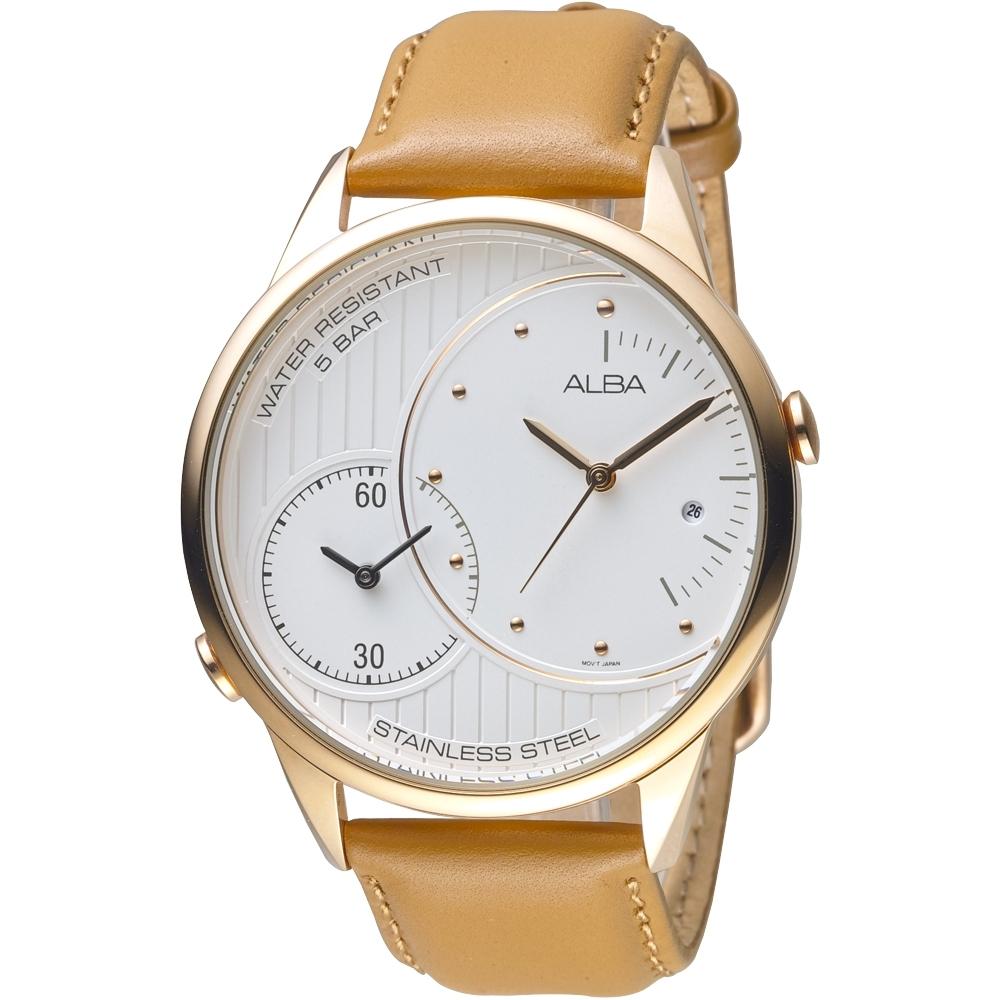 ALBA雅柏手錶 必推兩地時間玫瑰金皮帶男錶(AZ9008X1)/45mm 保固二年
