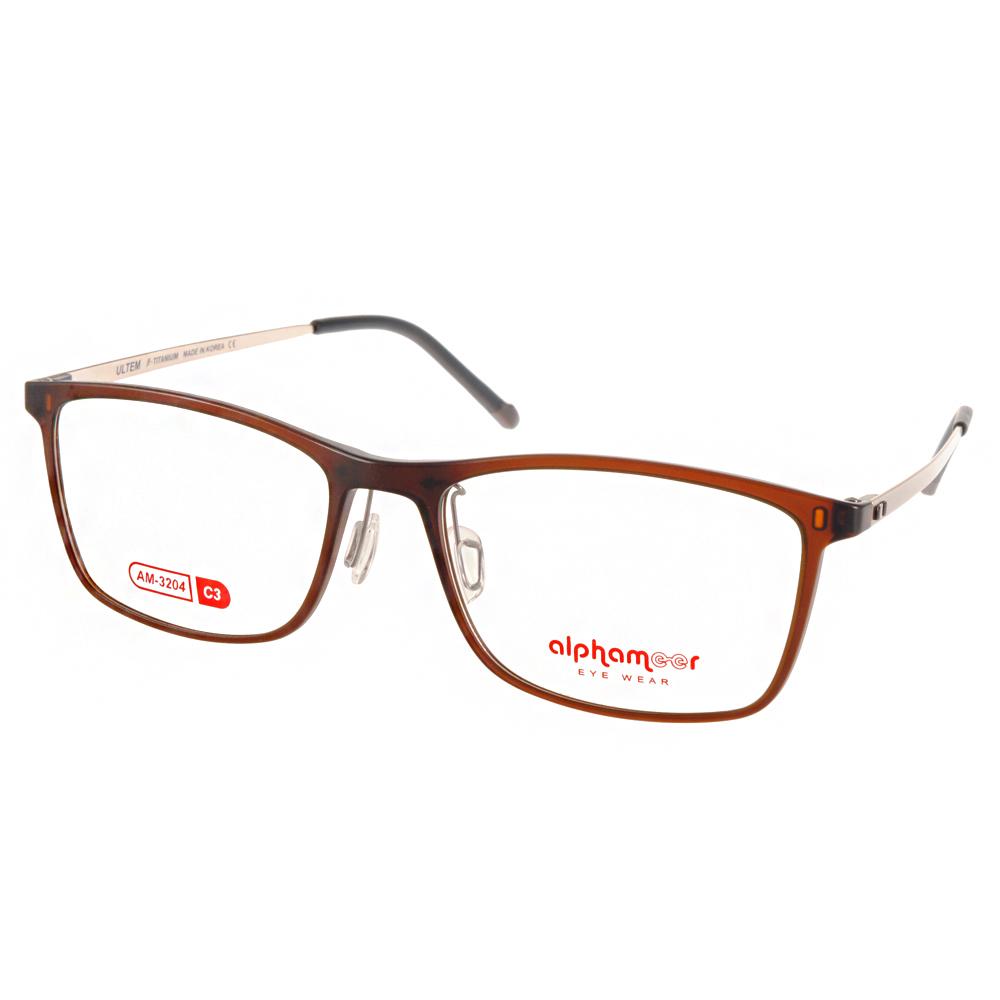 Alphameer光學眼鏡 韓國塑鋼系列/棕-金#AM3204 C03