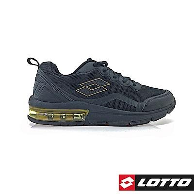 LOTTO 義大利 男 FLUX 避震氣墊跑鞋  (黑金)