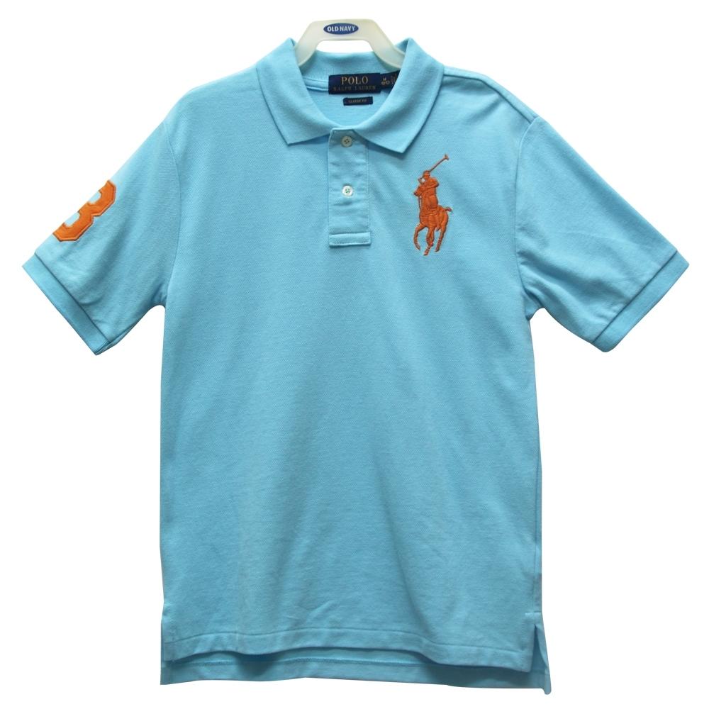 Ralph Lauren 大童刺繡數字3經典大馬短袖POLO衫-淺藍色
