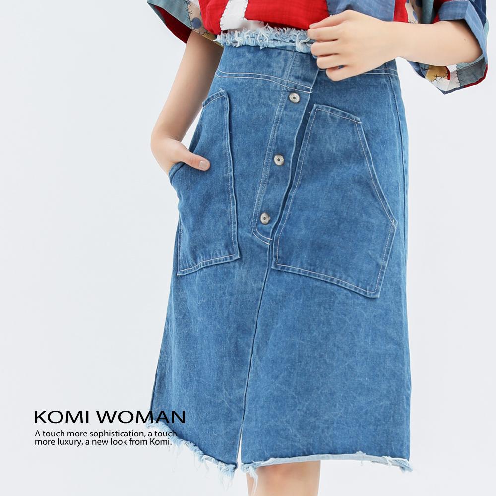 【KOMI】 丹寧抽鬚大口袋A字裙