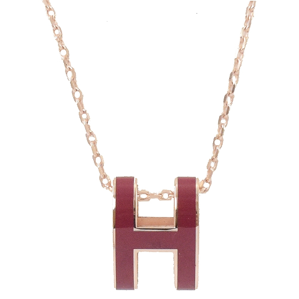 HERMES H POP款LOGO圓弧型項鍊(暗紅/玫瑰金)