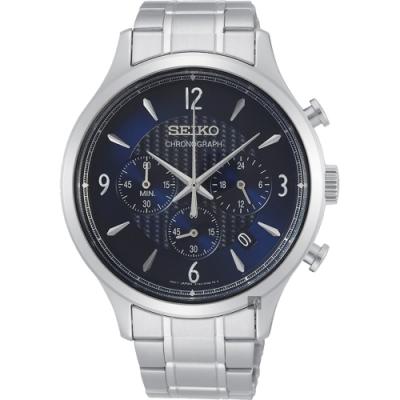 SEIKO精工 CS 紳士型男款計時手錶(SSB339P1)-藍x銀/43.3mm