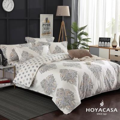 HOYACASA奢享 加大四件式300織抗菌精梳長絨棉兩用被床包組