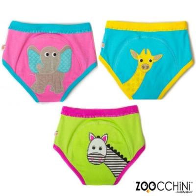 ZOOCCHiNi美國有機棉學習褲3入-可愛動物 女孩款