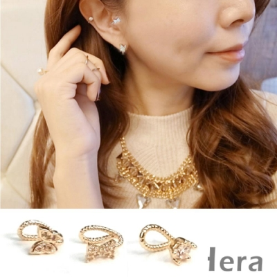 Hera赫拉-精緻蝴蝶結裸鑽水鑽耳環/耳骨夾-金色混搭三顆入