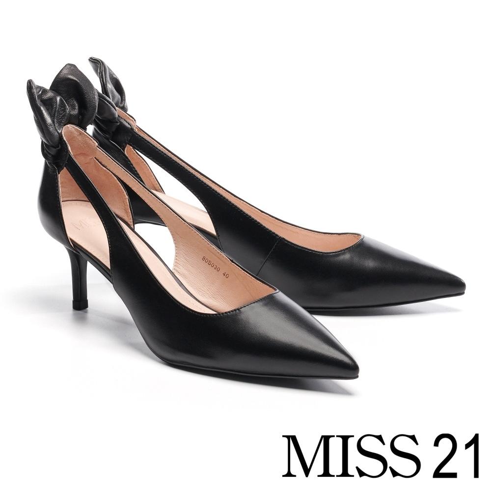 高跟鞋 MISS 21 抓皺立體兔耳簍空設計尖頭羊皮高跟鞋-黑
