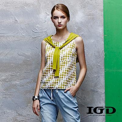 IGD英格麗 純棉波點假兩件背心上衣