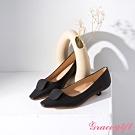 Grace gift-幾何圓片拼接低跟鞋 黑