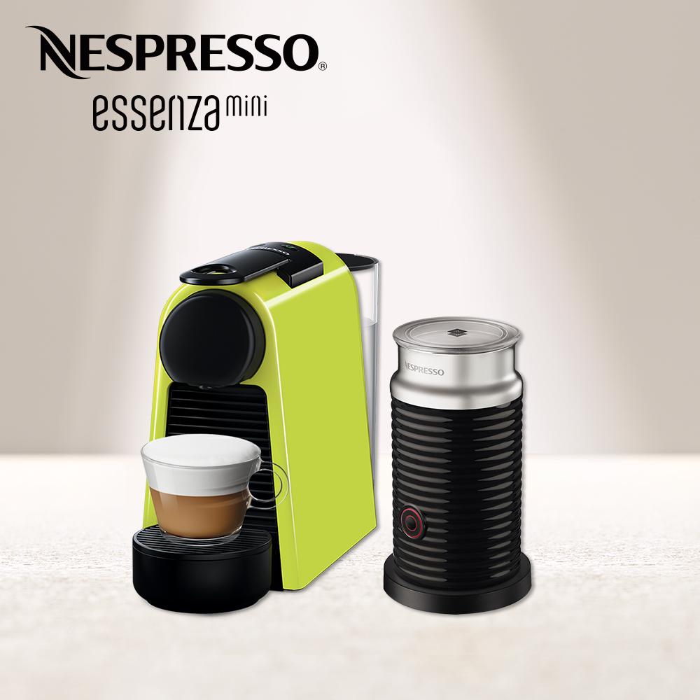 Nespresso 膠囊咖啡機 Essenza Mini 萊姆綠 黑色奶泡機組合