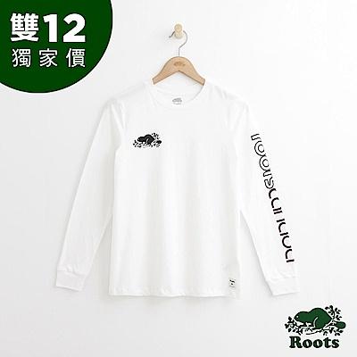 Roots 女裝- LOGO長袖T恤 - 白