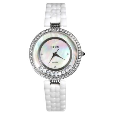 HYUN炫 珍珠母貝環繞鑽石陶瓷錶-白