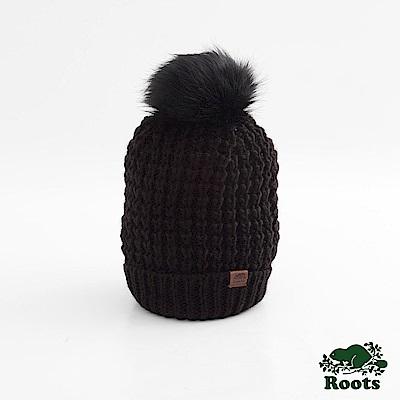 Roots-配件- 奧莉維亞毛球針織帽 - 黑色