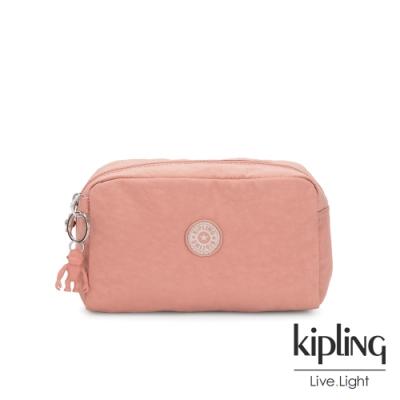 Kipling 奶油草莓拿鐵色長形化妝包-GLEAM