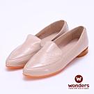 WONDERS -經典素面亮皮尖頭牛皮鞋-奶茶色