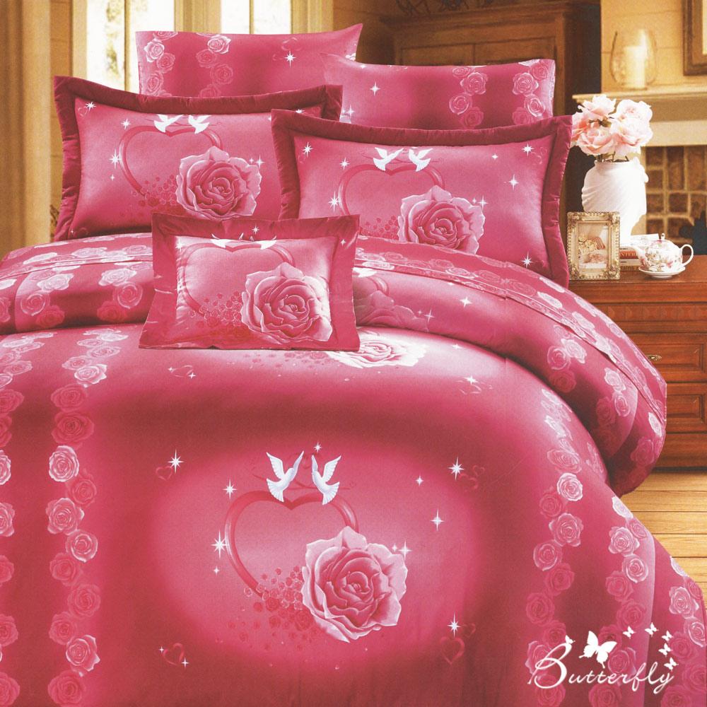 BUTTERFLY-台製40支紗純棉-雙人6x7尺鋪棉兩用被-心心相印-粉