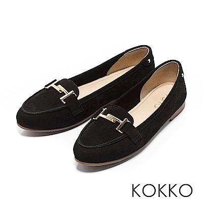 KOKKO - 簡約舒適真皮金屬釦莫卡辛休閒鞋-經典黑
