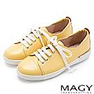 MAGY 樂活休閒 質感素面牛皮綁帶休閒鞋-黃色