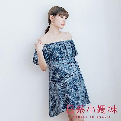 日系小媽咪孕婦裝-彈性一字領鬆緊袖口變形蟲印花洋裝 附綁帶