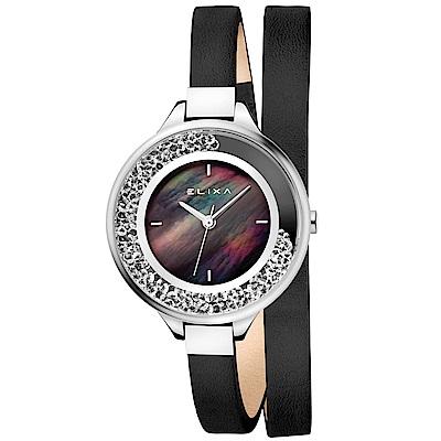 ELIXA Finesse系列珍珠母貝晶鑽錶盤/皮革纏繞式錶帶手錶34mm