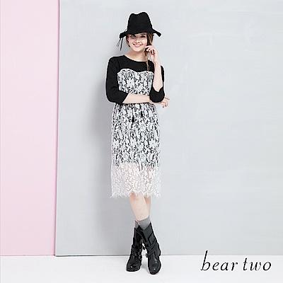 beartwo 網路獨家婚禮系列睫毛蕾絲連身洋裝(二色)