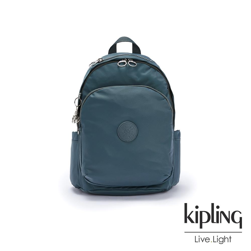 Kipling 山林湖茵綠上方拉鍊後背包-DELIA