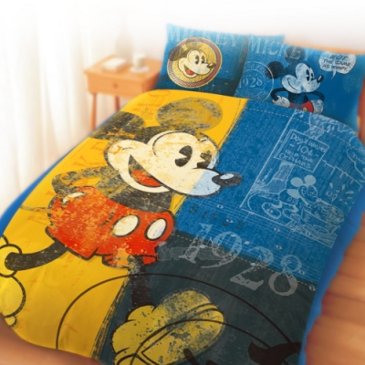 享夢城堡 單人床包雙人薄被套三件組-迪士尼米奇MICKEY 復古-藍