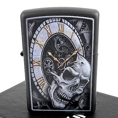 ZIPPO 美系~Skull Clock-骷髏時鐘圖案設計打火機