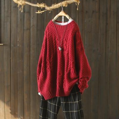 素色麻花紋螺紋圓領毛衣寬鬆針織衫-設計所在