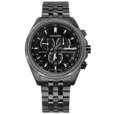 CITIZEN 光動能 萬年曆 礦石強化玻璃 兩地時間 不鏽鋼手錶(BL5567-57E)-黑x鍍灰/43mm