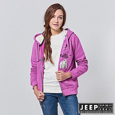 JEEP 女裝 美式風格造型刺繡長袖外套 -紫紅色