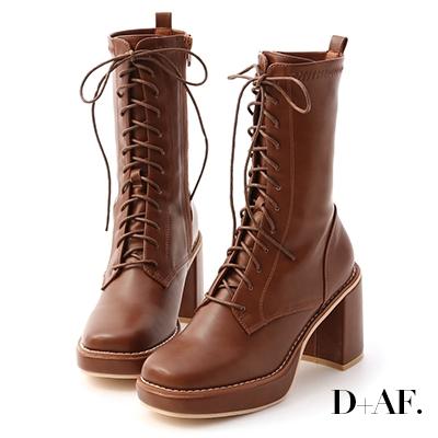 D+AF 微辣個性.加厚水台方頭綁帶短靴*棕
