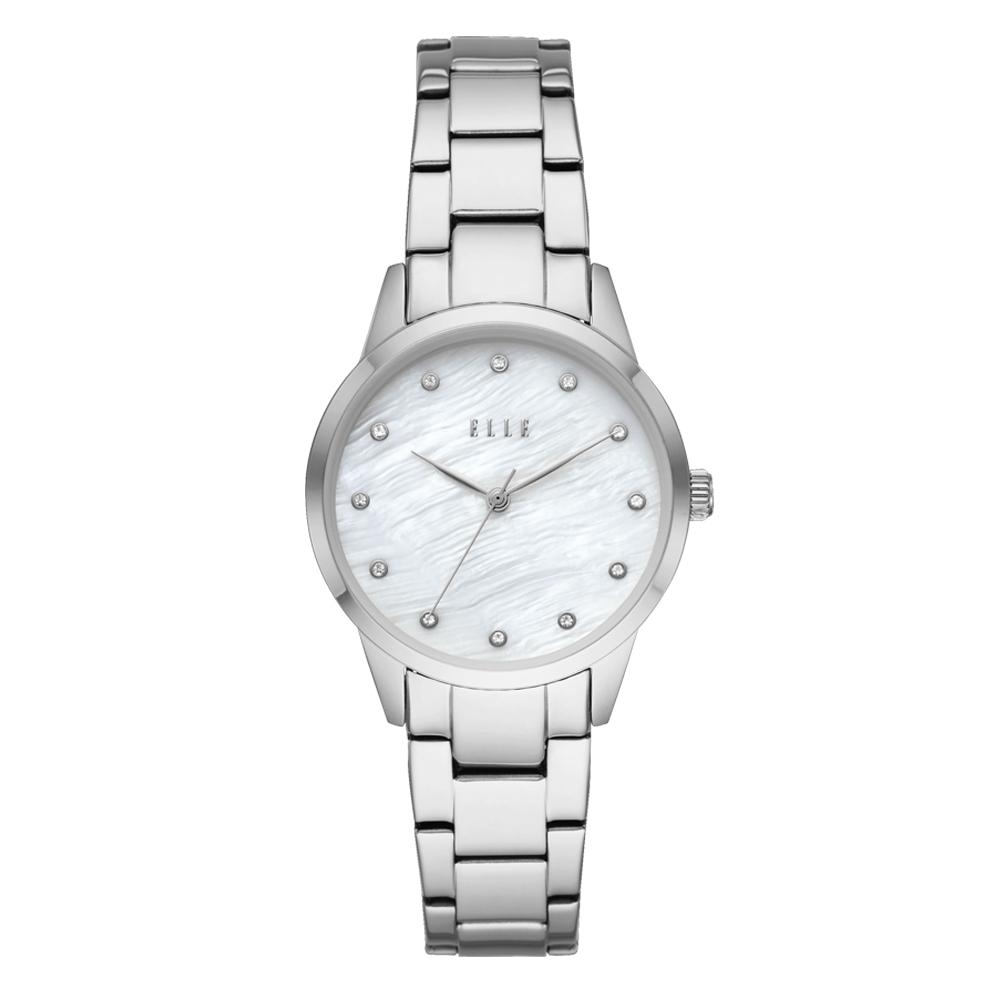 ELLE Molitor優雅時尚晶鑽貝殼面腕錶-銀(ELL25001)/33mm