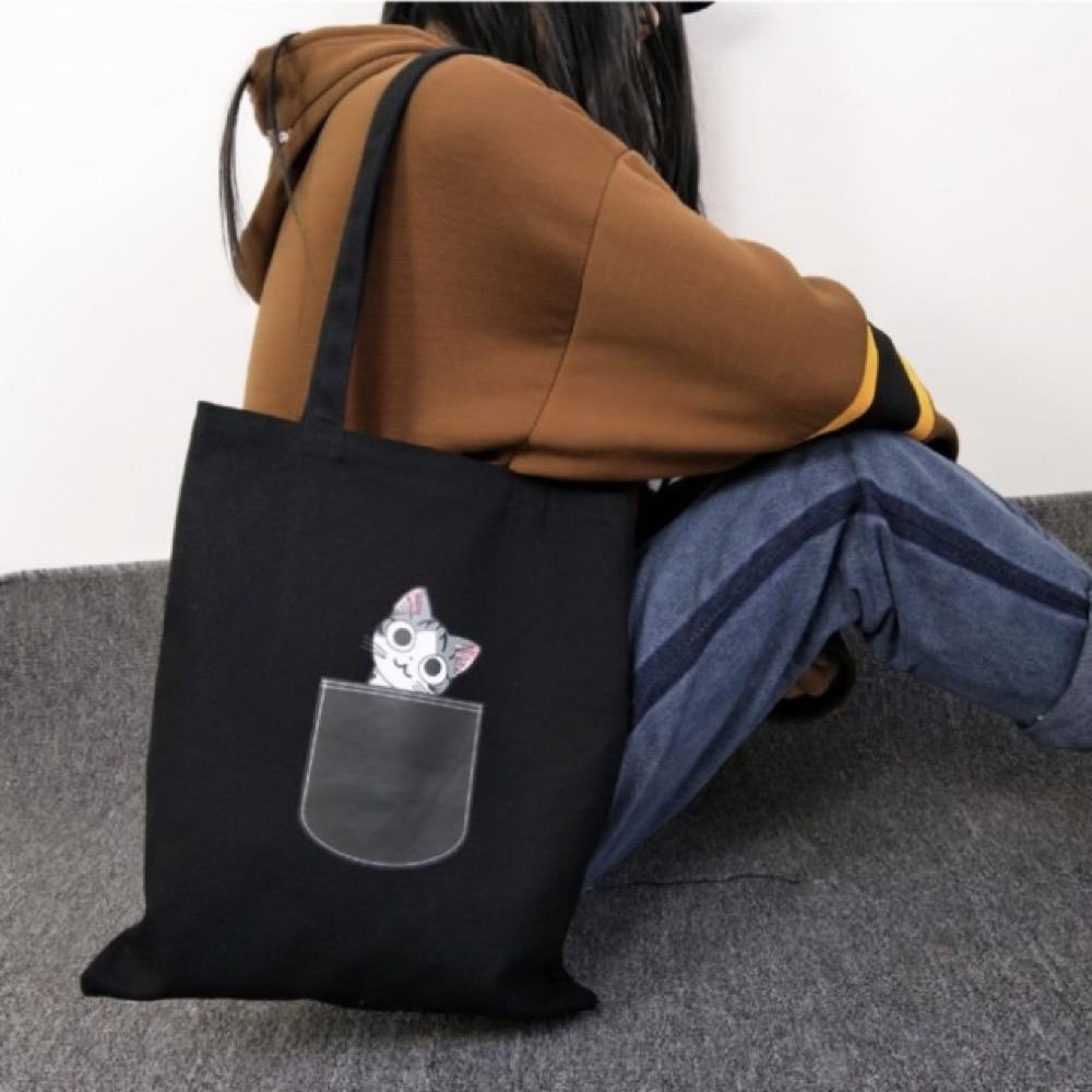 【89 zone】韓版可愛口袋貓帆布包(黑)