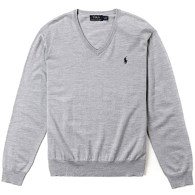 Polo Ralph Lauren 經典刺繡小馬V領針織棉質毛衣-灰色