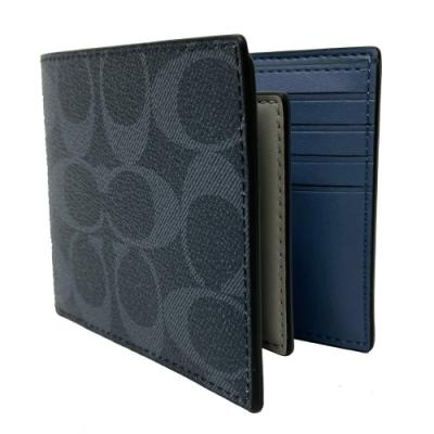 COACH 男款8卡對折短夾附活動式證件夾(C LOGO-牛仔深藍)