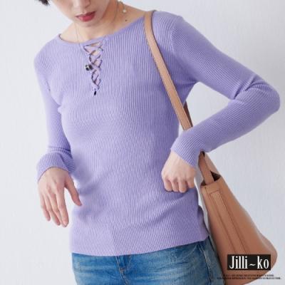 JILLI-KO 前後兩穿坑條針織T- 粉紫