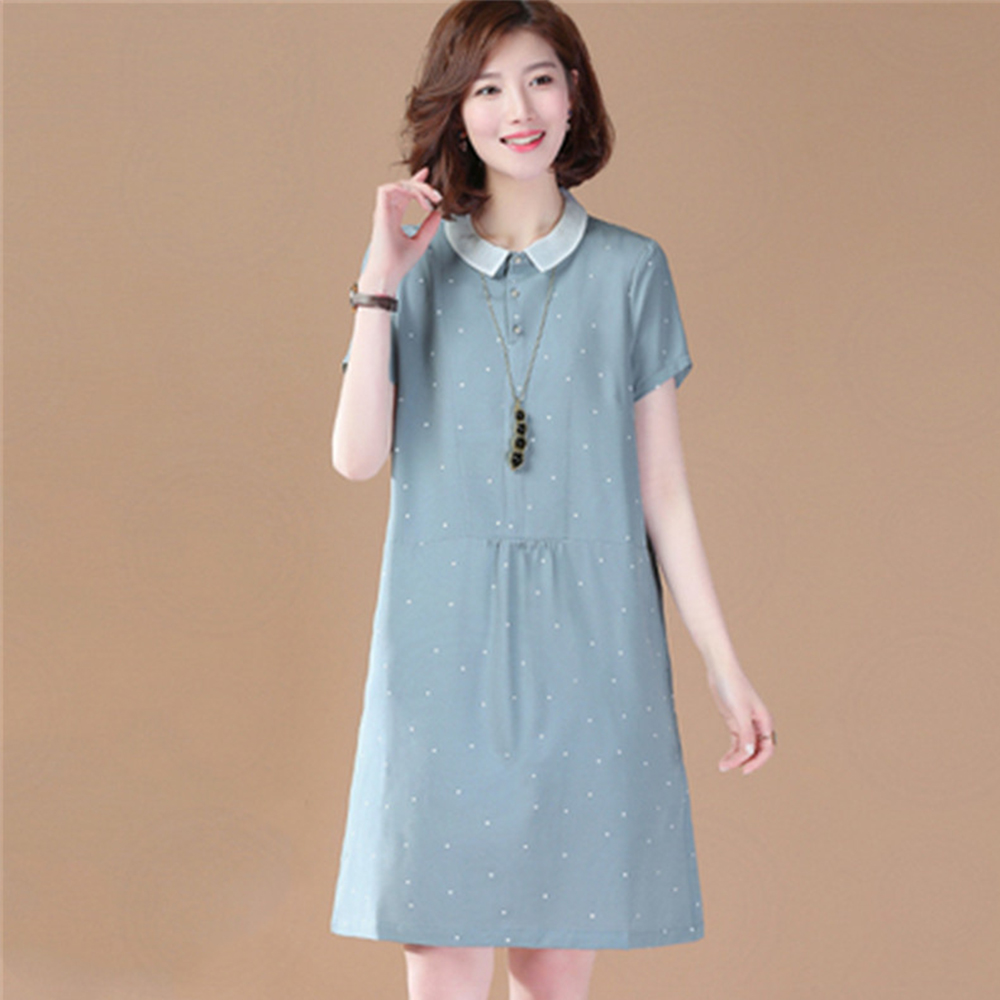初色  小圓點休閒連衣裙-藍色-(M-2XL可選)