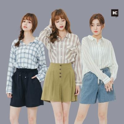 [時時樂]H:CONNECT 韓國品牌 女裝-精選韓系配色襯衫-三款