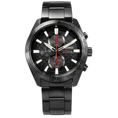 SEIKO 精工 criteria 三環 太陽能 不鏽鋼手錶-黑紅x鍍灰/43mm