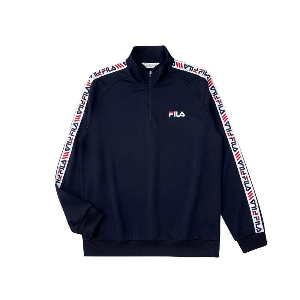FILA 男吸濕排汗半門襟T恤-丈青 1TEU-5456-NV