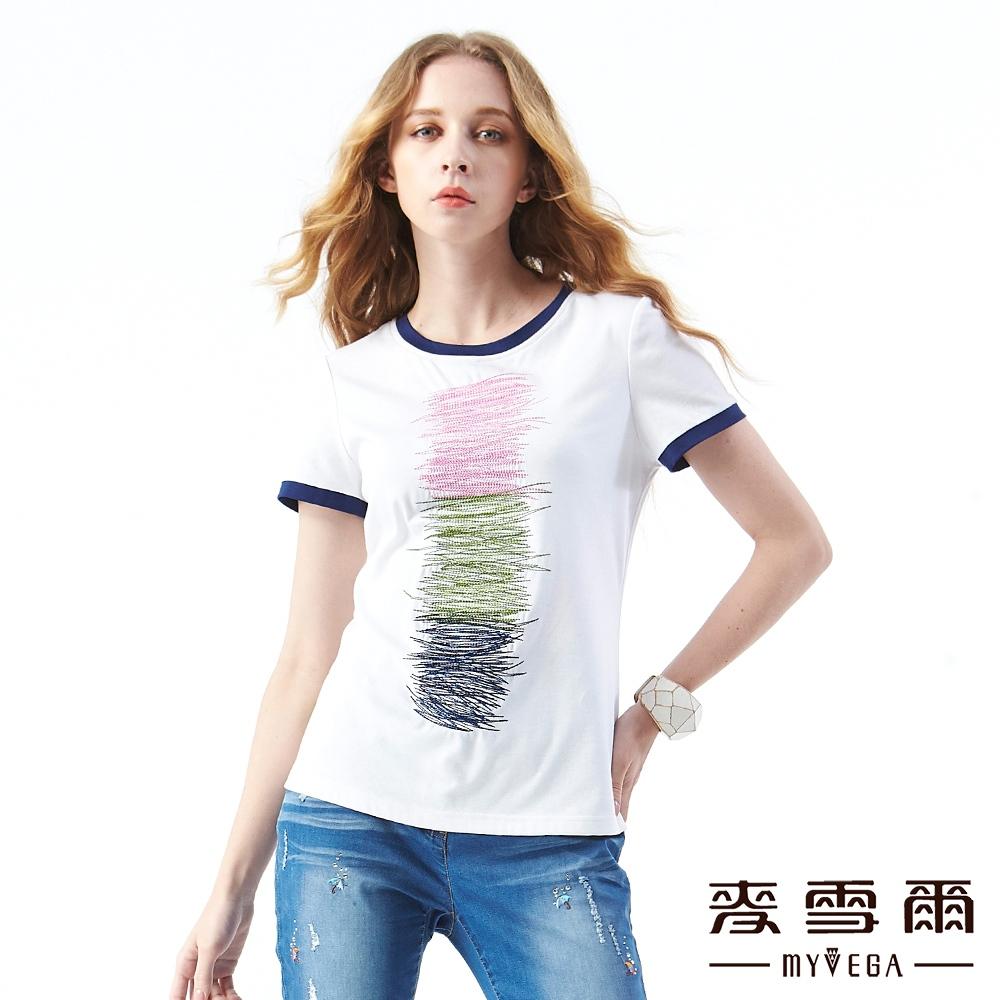 【麥雪爾】抽象撞色橫條紋刺繡上衣
