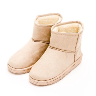 River&Moon雪靴-韓版繽紛細絨內撲毛短雪靴 米