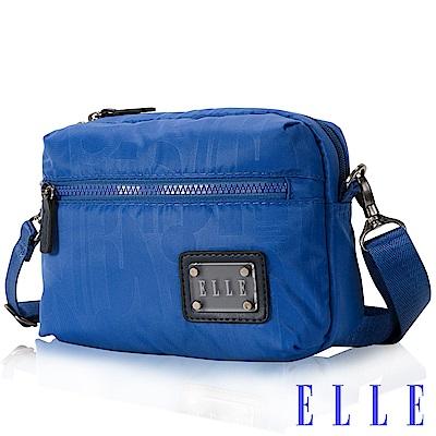 福利品 ELLE 法式優雅休閒系列 輕細尼龍防潑水小方直立包側背款設計-海藍色