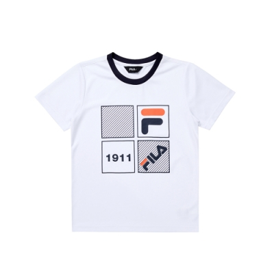 FILA KIDS 童吸濕排汗上衣-白 1TEU-4906-WT