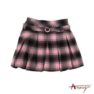 Annys可愛學院風格紋腰帶百褶短裙*0254粉紅色
