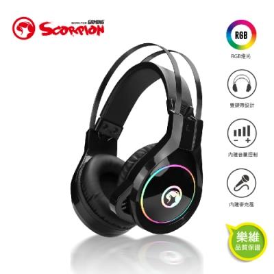 【MARVO魔蠍】歐洲魔蠍 RGB耳罩式耳機3.5+USB HG8901