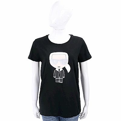 Karl Lagerfeld IKONIK 經典老佛爺圖騰黑色棉質T恤
