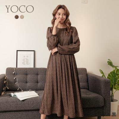 東京著衣-YOCO 輕舞樂曲滿版碎花公主袖附腰帶傘狀洋裝