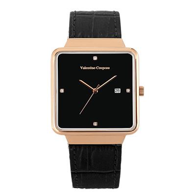 Valentino Coupeau 范倫鐵諾 古柏 輕巧極簡設計腕錶【玫瑰/黑皮/黑珠】